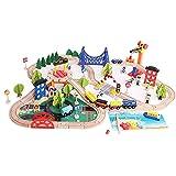 Tastak FXQIN - Juego de trenes de madera a granel de 108 piezas con triple bucle, accesorios de expansión ferroviaria, compatibles con los principales trenes de juguete: pasatiempos, juegos y activida