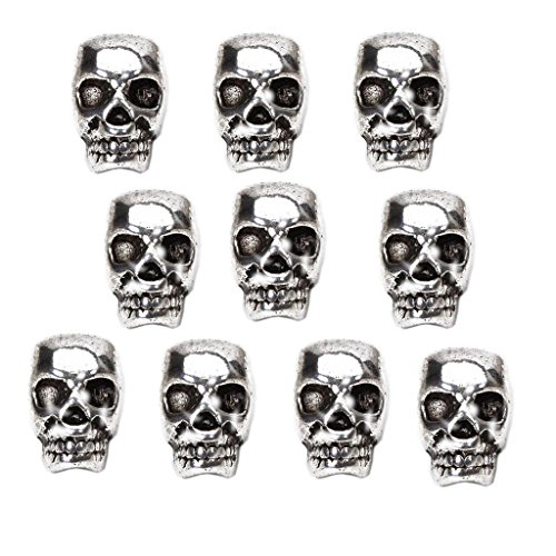 Harilla 10x Tibet Silver Skull Spacer Beads DIY Accessories for