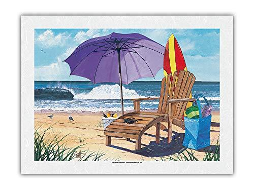 Pacifica Island Art Cosa de la Orilla - Silla de Playa, sombrilla y Vista al mar - De Pintura en Color de Scott Westmoreland - Impresión de Arte Papel Premium de Arroz Unryu 46x61cm