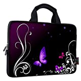 iColor 11 11.6 12 12.1 12.5 inch Laptop Carrying Bag Chromebook Case Notebook Ultrabook Bag Tablet Cover Neoprene Sleeve for Apple Macbook Air Samsung Google Acer HP DELL Lenovo Asus Purple Butterfly