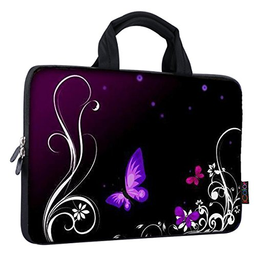 iColor 14 15 15.4 15.6 inch Laptop Handle Bag Computer Protect Case Pouch Holder Notebook Sleeve Neoprene Cover Soft Carring Travel Case for Dell Lenovo Toshiba HP Chromebook ASUS Acer Purple ICB-01