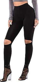 Qootent Yoga Pants High-Elastic Slim Fit Fitness Knee Hole Sweatpants Leggings