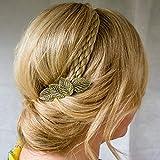 QueenMee Pince à cheveux en forme de feuille Doré