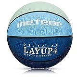 Balón Baloncesto Talla 4 Pelota Basketball Bebe Ball Infantil Niño Balon Basquet - Baloncesto Ideal para los niños y jouvenes para Entrenar y Jugar - Tamaño 4 Layup (#4, Gris/Azul)