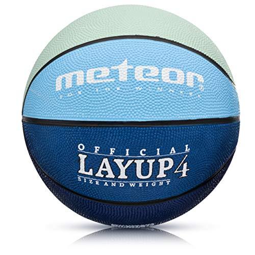 meteor® Kinder Basketball Layup Größe #4 Jugend Basketball ideal auf die Kinder-hände 5-10 Jahre idealer Mini Basketball für Ausbildung weicher Kinder Basketball Outdoor (Größe #4, Grau & Blau)