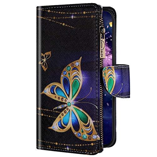 Uposao Kompatibel mit Huawei P30 Lite Hülle Geldbörse mit Reißverschluss Handyhülle Bunt Retro Muster Klapphülle Flip Case Cover Schutzhülle Lederhülle Kartenfächer Magnet,Schmetterling
