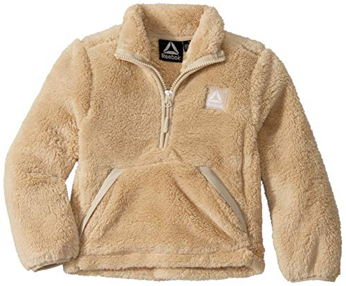 Reebok Boys' Little Active Fleece Jacket, Pullover Tan, 5/6