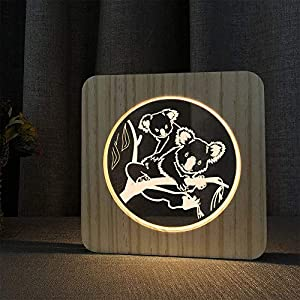 Animal Mother with Baby Wooden Bedside Table Lamp LED Night Light for Home Room Decoration, Creative Gifts for Kids Teens Girls Women Mom