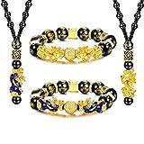 cassieca 4pcs feng shui pi xiu braccialetti collane di buona fortuna per uomo donna collane braccialetti ossidiana nera mantra perlina attira ricchezza bracciale elastico regolabile