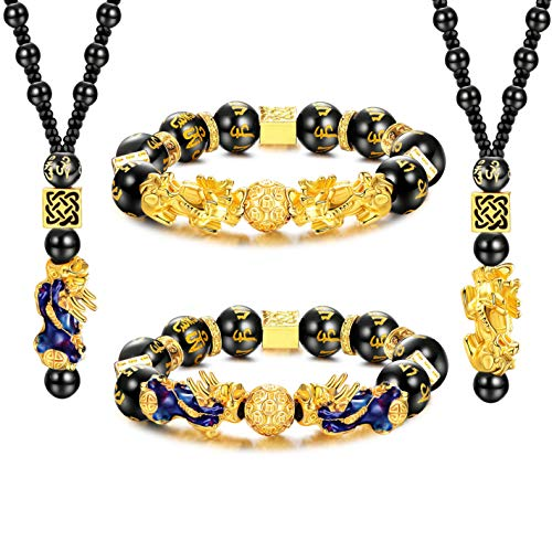 CASSIECA Juego de 4 Collares Pulseras Obsidiana Negra Feng Shui Pulseras Ajustables Feng Shui Pi Xiu...
