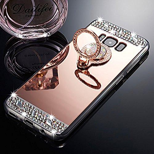 Para Funda Samsung Galaxy J3 2015 2016 Version, Funda con Anillo Soporte Lindo Carcasa de Espejo para Mujer Cristal Diamante Brillante Lujoso TPU Cubierta Suave Anti-arañazos Caso Protector,Oro Rosa