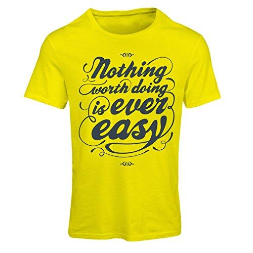 Frauen T-Shirt Motivationszitate für das Leben - Vintage Inspirational Lustige Sprüche (Large Gelb Mehrfarben)