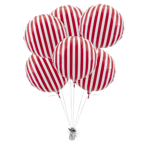Affordable Red Striped Mylar Balloons (6 pc)