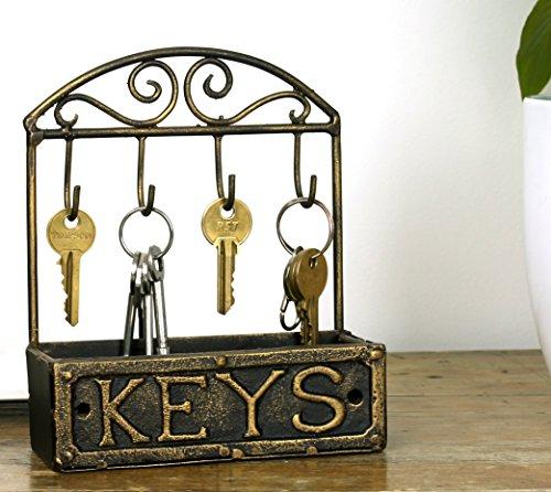 Vintage clés crochets support support de rangement armoire rustique en laiton