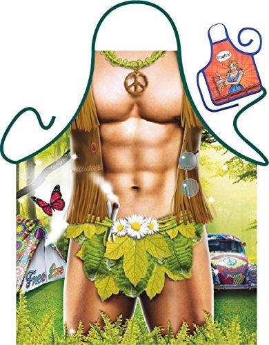 Hippie on – Drôles Fun Tablier des fêtes et mini pour la bouteille