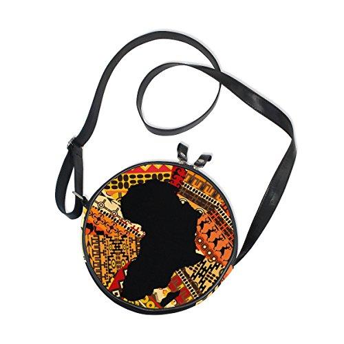 ALAZA Africa Map On Ethnic Pattern Round Crossbody Bag Canvas Purse Messenger Bag