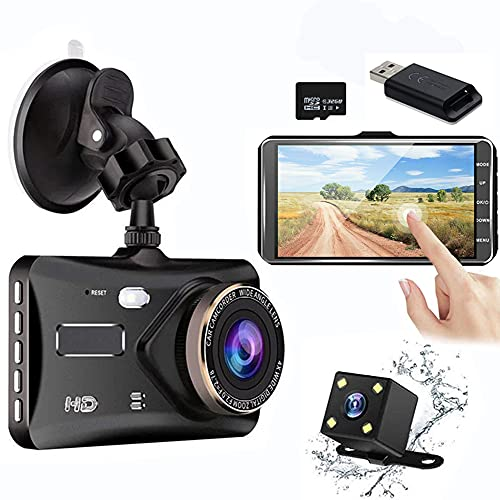 Dual Dash Cam Front and Rear 4 inch Touch Screen Dashboard 1080P Full HD 170° Wide Angle Car Camera with Night Vision G-Sensor Parking Monitor Loop Recording Motion Detection with 32G SD Card & Reader