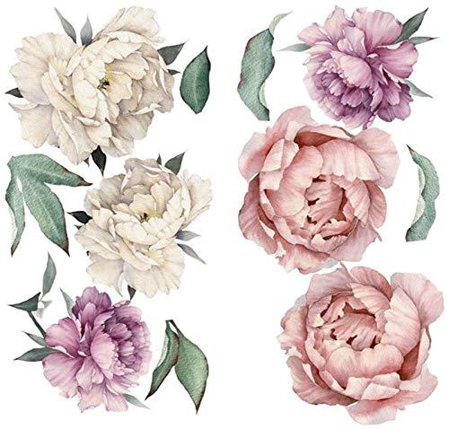 Raheem Pegatinas de Azulejos Etiqueta engomada de la Pared Pegatinas de Pared Flores Grandes Peony Rose Flores Impermeable Etiqueta de Pared Fondo para Dormitorio Decoración (Color : Multicolour)