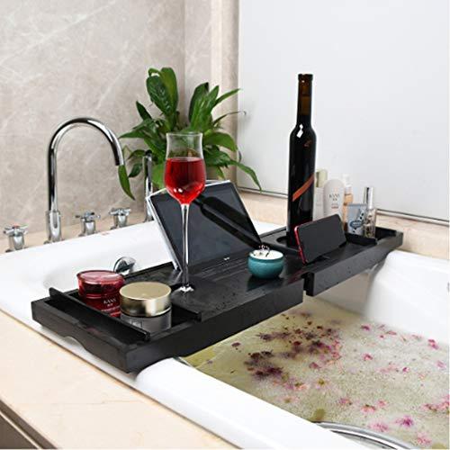 Shelf Support De Baignoire en Bambou Noir Caddy Rack Bath Tub , Réglable Luxury Home Spa Wood Bath Caddy avec Verre à Vin, Tablette/Livre, Support pour Smartphone