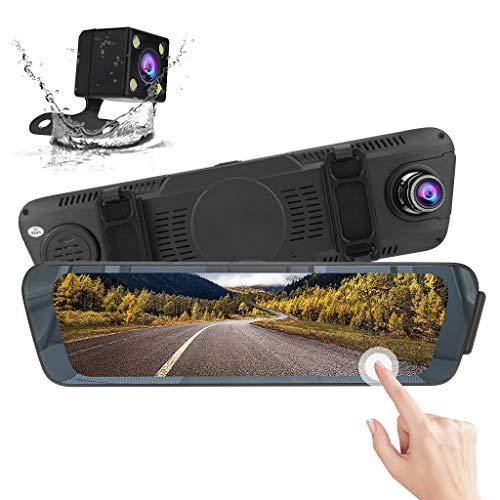 "10"" Mirror Dash Cam, Lovewe Mirror 10 Inch 1080P Full HD Screen Car Dash Camera Stream Media Front Rear Dual Lens Backup Camera with Night Vision for Car"