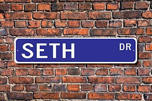 N/B Seth, Seth Sign, Seth Gift Seth, Seth Decor, Seth Fan, regalo de niño, regalo de nieto, regalo de cumpleaños Seth, cartel de calle personalizado, cartel de metal de calidad
