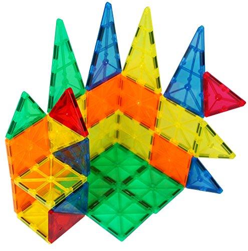 Sun Cling 3D Plastic Magnetic Tiles Educational Magnets Building Blocks,32 Piece, BPA Free