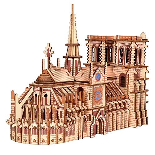 T-Club 3D Puzzles Notre Dame de Paris Wooden Jigsaw Puzzle DIY Laser Cutting Building Model Kits Gift for Children and Adults 239 Pack