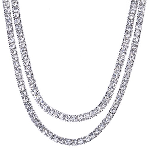 Metaltree98 Fashion Hip Hop Iced Bling Silver Plated CZ Stoned 4 mm 2 Combo Set 16' + 18' Tennis Chain Choker Necklace Lab Diamond Rapper