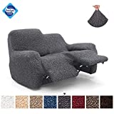 Recliner Loveseat Cover - Recliner Couch Cover - 2 Seater Recliner Slipcover - Soft Polyester Fabric Slipcover - 1-piece Form Fit Stretch Furniture Protector - Microfibra Collection - Grey