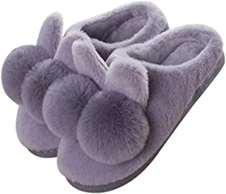 Fashion Plush Imitation Rabbit Fur Slippers Home Women's Cotton Slippers Memory Foam Booties Slip-on Fur Lining/Non-Slip (Color : Grey, Size : 40-41)