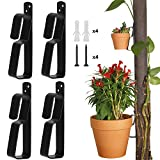 "ChasBete Plant Pot Latch Hangers Flower Pot Clips Klips Floating Holder for 4"" to 9"" Terra Cotta Pot, Indoor/Outdoor Strong Stainless Steel Hook, 4 Pack"
