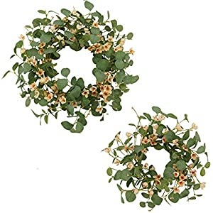 AMF0RESJ Artificial Spring Wreath Green Eucalyptus Wreath for Front Door with Silk Cherry Blossom Flower for Indoor Outdoor Wall Window Wedding Decor (2 Pack 20″ and 16″)