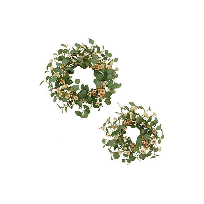 """silk flower arrangements amf0resj artificial green eucalyptus wreath for front door (2 pack 20"""" and 16"""") spring summer wreath with silk cherry blossom flower for farmhouse indoor outdoor wall window wedding decor"""
