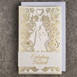 ART NUVO Invitaciones de boda – 20 unidades, 130 x 205 mm, con inserciones imprimibles y sobres para boda – cortado con láser, acabado con lámina dorada, patrón prensado con inscripciones grabadas
