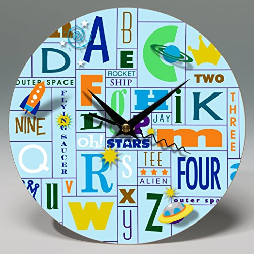 "8"" Round Alphabet Blue Wall Clock ~ Personalize this whimsical ready-to-hang decorative piece of wall art for your boy's bedroom."