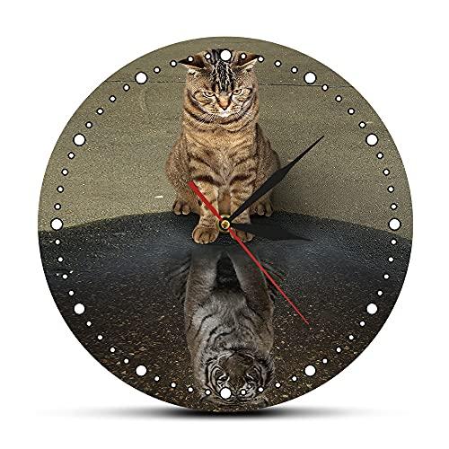CVG Megalomania Your Inner Soul Cat Reflection Tiger Orologio da Parete Fiducia in se Stessi Inspirational Wall Art Camera da Letto Hanging Wall Watch Regali per Uomo