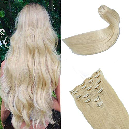 14In Clip in Hair Extensions Natural Human Hair Platinum Blonde Full Head Soft Silky Straight Hair Thickened Double Weft 100% Remy Brazilian 10A Grade Human Hair Extensions For Women 120g7pcs(14In#60)
