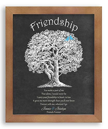 8X10 Framed Art Print - Custom Personalized Gift for Friendship Best Friends Poem You Make A Part of Me Friends Forever on Dark Background - With Solid Wood Frame & Gift Wrapping CWA-P1225