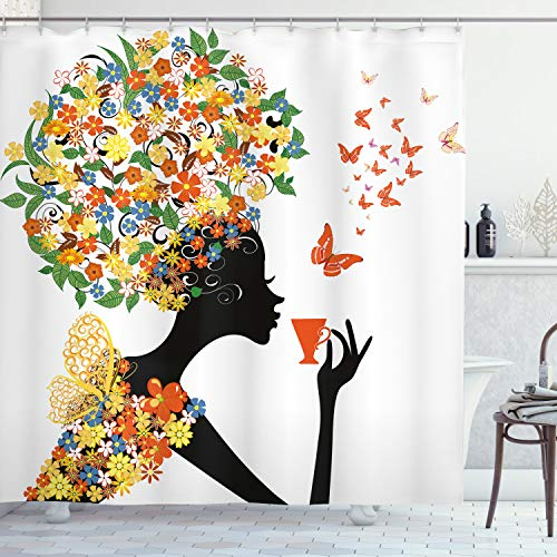 Ambesonne Floral Shower Curtain, Woman Silhouette with Hot Tea Cup Butterflies Wings Daisies Poppy Hibiscus Hairstyle, Cloth Fabric Bathroom Decor Set with Hooks, 70' Long, Mustard Orange