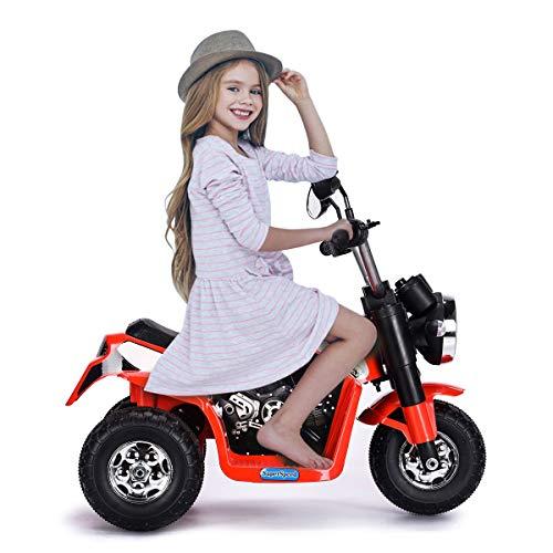 COSTWAY Moto Elettrica Multifunzione per Bambini, Moto Giocattolo Cavalcabile Elettrica, velocità 3-4km ora, per Bambini da 36-95 Mesi, 72 x 57 x 56 cm, Giallo Rosso (Rosso)