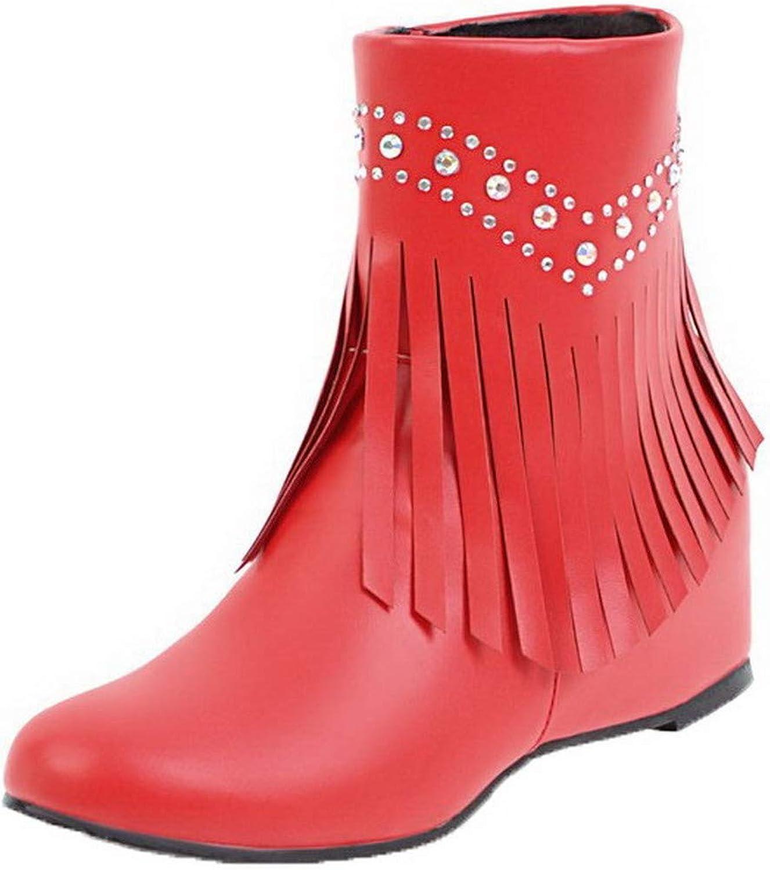 WeiPoot Women's Low-Top Solid Zipper Closed-Toe Kitten-Heels Boots, EGHXH023833
