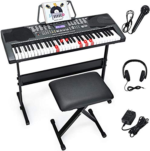 Costzon 61-Key Electronic Keyboard Piano w/Lighted Keys, Built-in Speakers, Recorder, 255 Timbres/Rhythms, 3 Teaching Modes, LCD Display, Headphones, Adjustable Stand for Beginner Adults (Black)