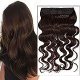 (40-60cm) Extensions Echthaar Clip in Dick Haarteile Echthaar Weich Natürlich 7A Remy Haar Haarverlängerung 1 Teil 5 Clips Gewellt-50cm-95g 02# Dunkelbraun