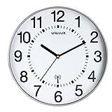 [page_title]-UNILUX 400094562 Funk-Wanduhr WAVE metallgrau 30 cm Funkuhr mit modernem Ziffernblatt automatische Zeitanpassung und Zeitumstellung von Sommer- und Winterzeit, modernes Ziffernblatt