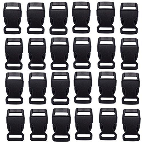 HONGCI 30PCS Side Release Plastic Mini Buckles 15mm(5/8') Inch Black-Great Accessories for Chidren Paracord Bracelets