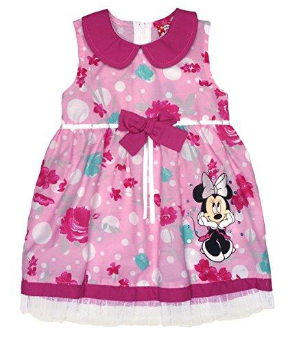 Disney Baby Mädchen Minnie Mouse FEST-Kleid Tüll-Rock Sommerkleid mit Bubikragen in Gr 74 80 86 92 98 104 110 116 122, Baumwolle Bluemnmädchen Outfit Farbe Pink, Größe 110
