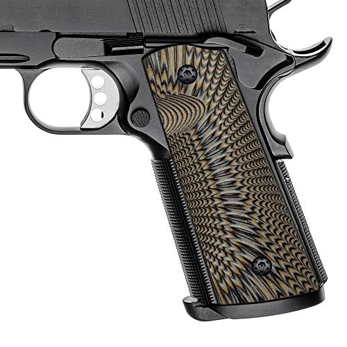 Cool Hand 1911 Grips, Magwell Cut, Full Size(Government/Commander), Sunburst Texture,G10, Ambi Safety Cut Coyote Color