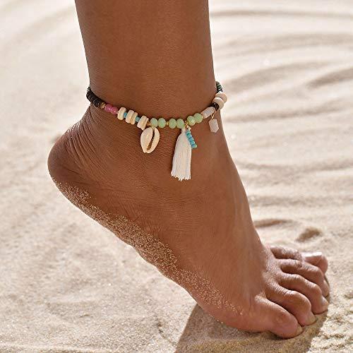 Ubright - Tobillera de concha boho con borla de playa de plata con cuentas para pies para mujeres y niñas