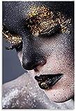 DINGDONG ART Lienzos De Fotos 50x70cm Sin Marco Carteles de decoración de Dormitorio Familiar Moderno con impresión de Imagen artística de Pared con Cara de Oro Negro