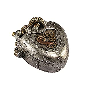 Steampunk Anatomical Realistic Heart Shaped Box Trinkets and Treasures Silver Pewter Gold Box 5″ X 4″ X 2″ SW-03